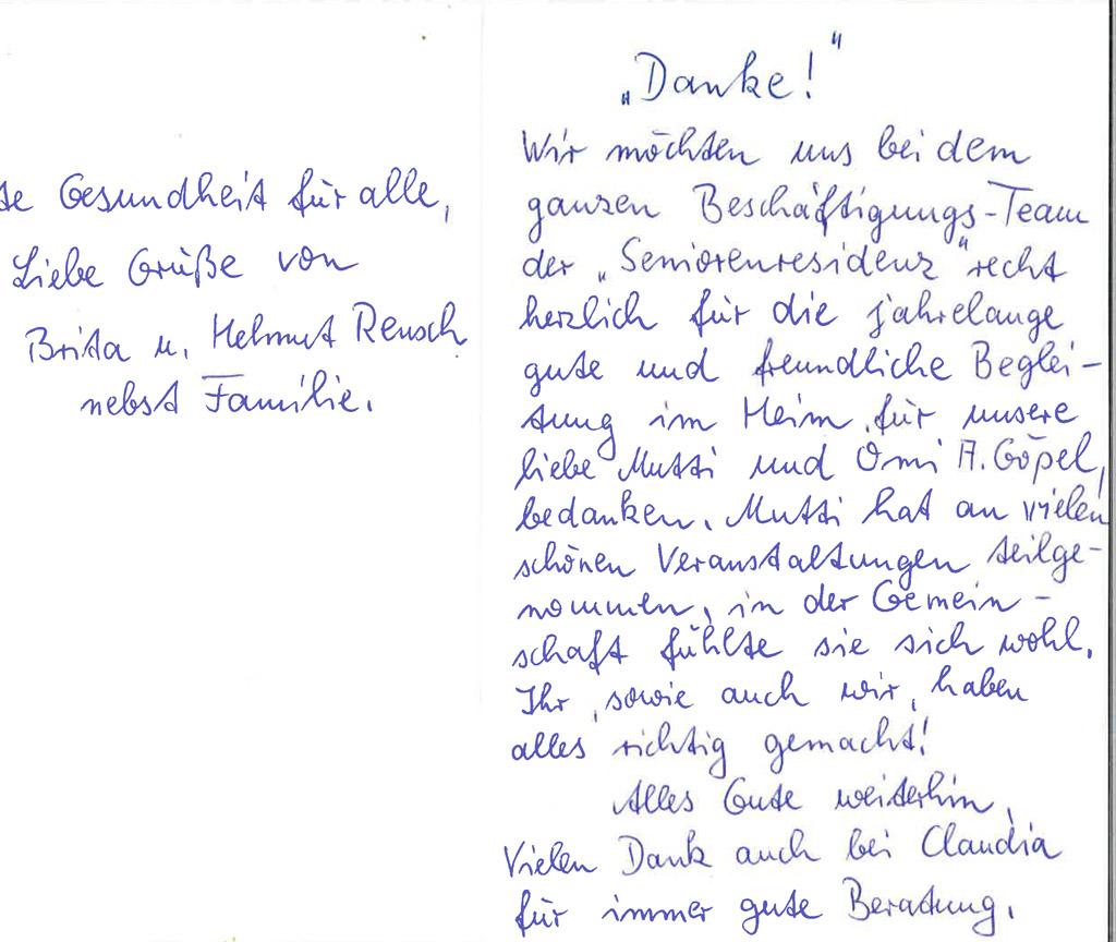 Sagen schwiegermutter danke Gerda Horn